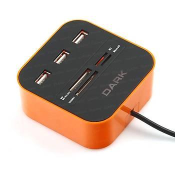 Dark DK-AC-UCR202OR UCR202 Turuncu 3 Port USB 2.0 Çoklayýcýlý Kart Okuyucu