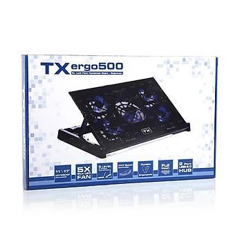 Tx TXACNBERGO500 11-17 inch Ergo500 5x Mavi Ledli Fan 6X Yükseklik Ayarlý 2 USB Notebook Stand