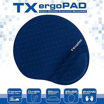 Tx TXACMPAD01DB Ergopad Plus 250x220x5mm Lacivert Bilek Jel Destekli Mousepad