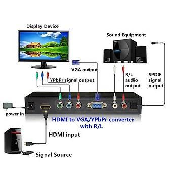Beek BS-AVH Ses Gör Av Cvbs to HDMI Sinyal Çevir 1Xs-Výdeo 1XRCA Dönüþtürücü Adaptör