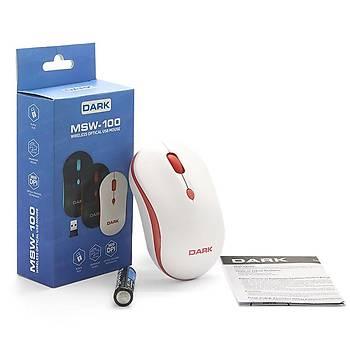 Dark DK-AC-MSW100W MSW100W 1600Dpi 4 Tuþlu Kablosuz Beyaz Kýrmýz Mouse