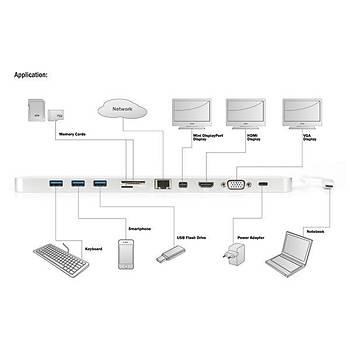 Digitus DA-70860 USB 3.0 Type C to HDMI miniDP VGA USB Type C DP 3x USB 3.0 RJ45 Kart Okuyuculu Docking Station