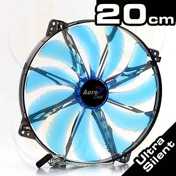 Aerocool AE-CFSL200B Silent Master 20 cm Mavi Led Sessiz Kasa Faný