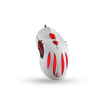 Rampage SMX-R3 Beyaz Makrolu Kablolu Oyuncu Mouse