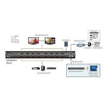 Aten VM0808HA 8 Port HDMI Giriþi 8 Port HDMI Çýkýþlý True 4K UHD 4096x2160 Diþi-Diþi HDMI Matrix Switch