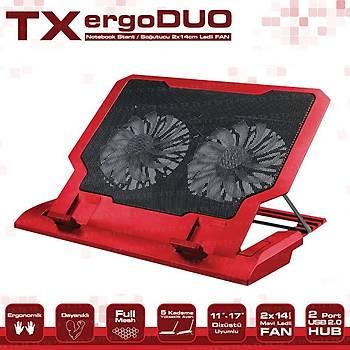 Tx TXACNBERGDUORD Ergoduo 11-17 inch 2x14cm Fan  5X Yüksek Ayarlý 2xUSB Notebook Stand
