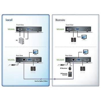 Aten VE200 150 Mt VGA to CAT 1280x1024 VGA Ses Sinyal Sinyal Uzatma Cihazý