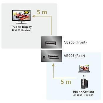 Aten VB905 5 Mt DISPLAY PORT to DSIPLAY PORT True 4K HDCP 2.2 DISPLAY PORT Mesafa Uzatýcý