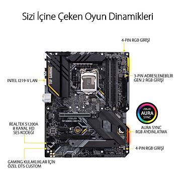 Asus TUF GAMING B460-PLUS SC-1200 B460 DDR4 2933Mhz M2 ATX Intel Anakart