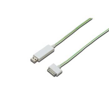 Digitus DB-600103-010-W 0.90 Mt USB to Apple Dock Erkek-Erkek Iþýklý Þarj için Kablo