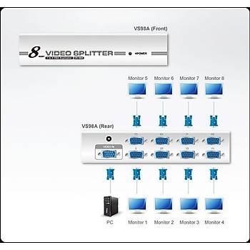 Aten VS98A 65 Mt 1 Giriþ 8 Çýkýþ 1920 x 1440 300Mhz VGA Çoklayýcý Splitter