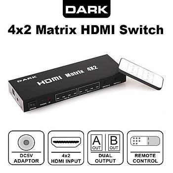 Dark DK-HD-SW4X2 4 Giriþ 2 Çýkýþlý HDMI Full HD Uzaktan Kumandalý HDMI Switch Seçici