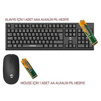 Everest KM-2510 Q TR KAblosuz Multimedia Siyah Klavye Mouse Seti