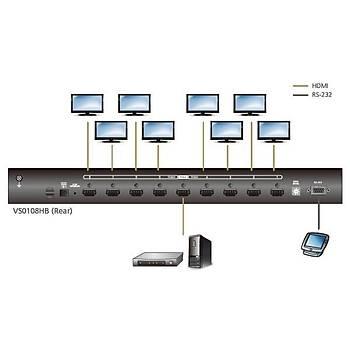 Aten VS0108HB 3 Mt 1 Giriþ 8 Çýkýþ HDMI 4K 1080P True 4096x2160 HDMI Görüntü Çoklayýcý Splitter