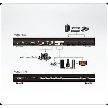 Aten VS482 3 Mt 4 Giriþ 2 Çýkýþ HDMI 3D 1080p Uzaktan Kumadndalý HDMI Switch Çoklayýcý