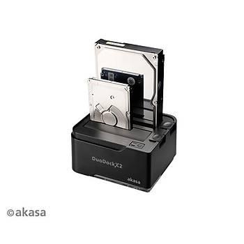 Akasa AK-DK06U3-BKEU DuoDock 2S 2x2.5/3.5 inch USB 3.0 Clone Destekli Disk Ýstasyonu