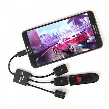 Dark DK-AC-USB2MICRO2 micro USB to 2 Port Usb 2.0 1 Port Type C OTG Çoklayıcı Hub