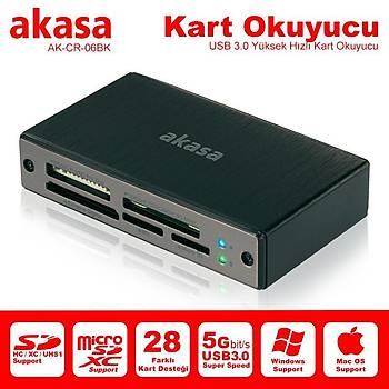 Akasa AK-CR-06BK USB 3.0 Alüminyum Kart Okuyucu