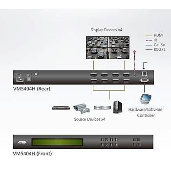 Aten VM5404H 15 Mt 4 x 4 Port HDMI to CAT 4K 1080p Scaler Özellikli HDMI Matrix Switch