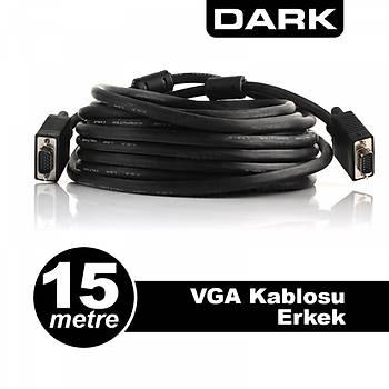 Dark DK-CB-VGAL1500 15 Mt VGA to VGA Erkek-Erkek Ferrit Core EMI RFI VGA Görüntü Kablosu