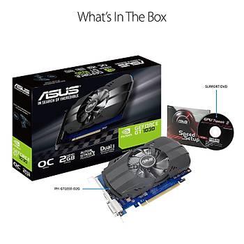 Asus PH-GT1030-O2G 2 GB GDDR5 GeForce GT 1030 64 Bit NVIDIA Ekran Kartý