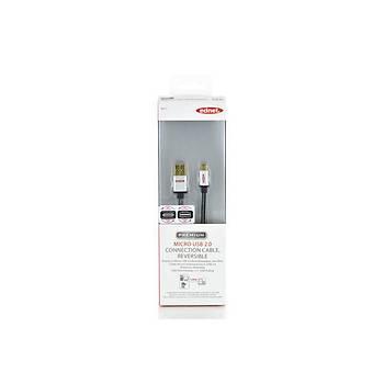 Ednet ED-84151 1 Mt USB 2.0 to micro USB Premium Altýn Zýrhlý Erkek-Erkek USB 2.0 Data Kablosu