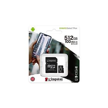 Kingston SDCS2/512GB Canvas Select Plus SDXC Class10 UHS-I microSD Hafýza Kartý