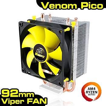 Akasa AK-CC4009EP01 Venom Pýco Intel Amd Ryzen 9.2 cm Sarý Fanlý Ýþlemci Soðutucusu