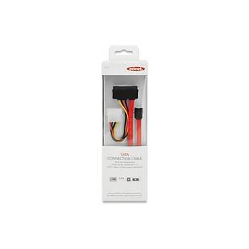 Ednet ED-84142 0.5 Mt SATA22 Pin to SATA 7 Pin  4 Pin Güç Erkek-Erkek AWG26 SATA Kablo