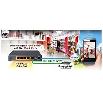 Planet PL-GSD-604HP 4 Port Gigabit PoE+ 2 Port Gigabit 55W PoE+ Masaüstü Switch