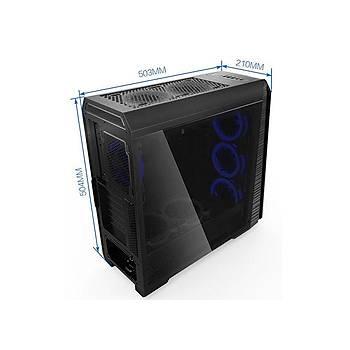 Rampage FALCON-X PSU YOK 4x12cm RGB Fan Temperli Mid Tower Kas