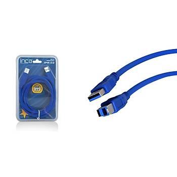 Inca IPR-03 1.5 Mt USB 3.0 to USB B Mavi USB 3.0 Erkek-Erkek Yazýcý Kablosu