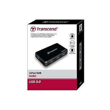 Transcend TS-HUB3K USB 3.0 to 4 Port USB 3.0 Siyah USB Çoklayýcý