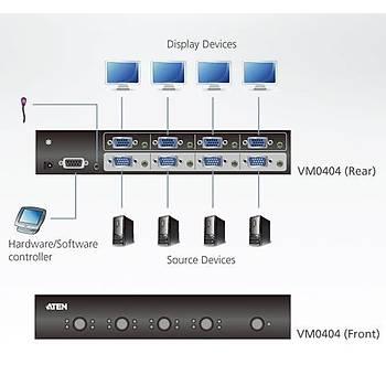 Aten VM0404 4 Port VGA Giriþi 4 Port VGA Çýkýþlý 1920x1440 300Mhz Diþi-Diþi VGA Matrix Switch
