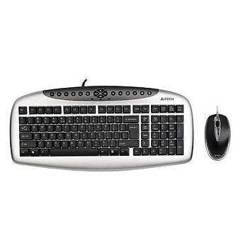A4 Tech KB-2103D Q TR Multimedia Ps/2 Siyah/Gümüþ Klavye Mous Set