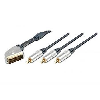 Digitus AK-AV 540 5 Mt SCART to 3xRCA 1 Video 2 Ses Erkek-Erkek Ferrite Filtre Yüksek Kaliteli Kablo
