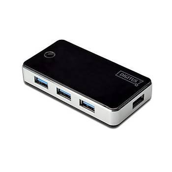 Digitus DA-70231 USB 3.0 to 4 Port USB 3.0  Plastik Siyah Gümüþ Güç Adaptörlü USB 3.0 Çoklayýcý Hub